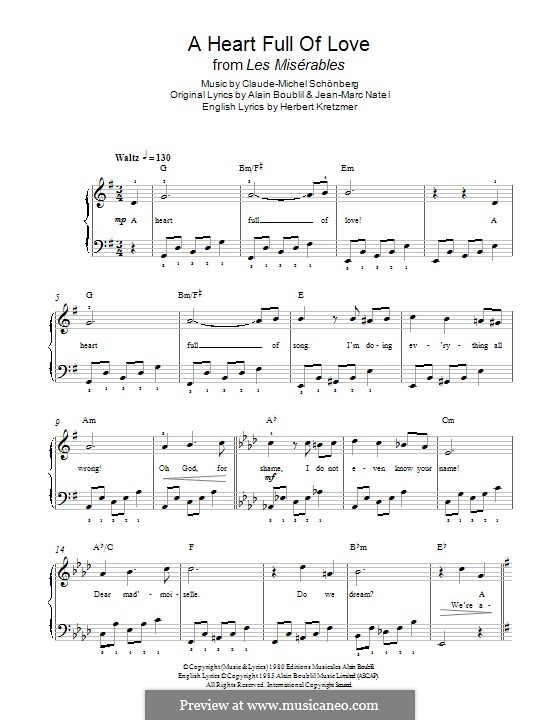 A Heart Full of Love: For piano by Claude-Michel Schönberg