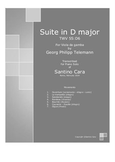 Suite in D Major, for piano, TWV 55:D6: For a single performer by Georg Philipp Telemann