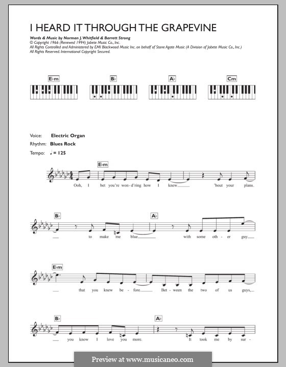 I Heard it Through the Grapevine: For keyboard by Barrett Strong, Norman J. Whitfield