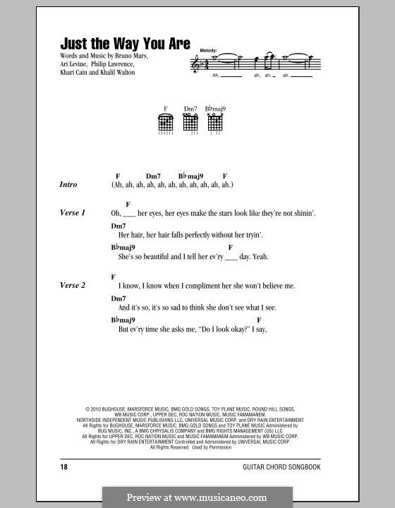 Just the Way You are: Lyrics and chords by Ari Levine, Khalil Walton, Khari Cain, Bruno Mars, Philip Lawrence