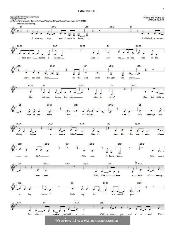 Landslide (Fleetwood Mac): Lyrics and chords by Stevie Nicks