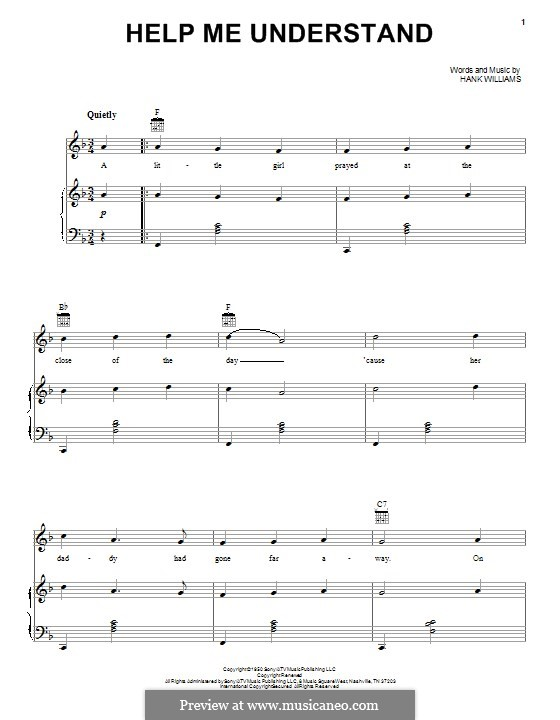 Help Me Understand: For voice and piano (or guitar) by Hank Williams