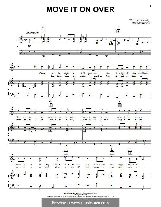 Move It on Over: For voice and piano (or guitar) by Hank Williams
