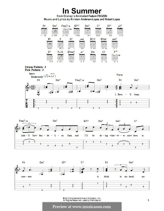 In Summer: For guitar with tab by Robert Lopez, Kristen Anderson-Lopez