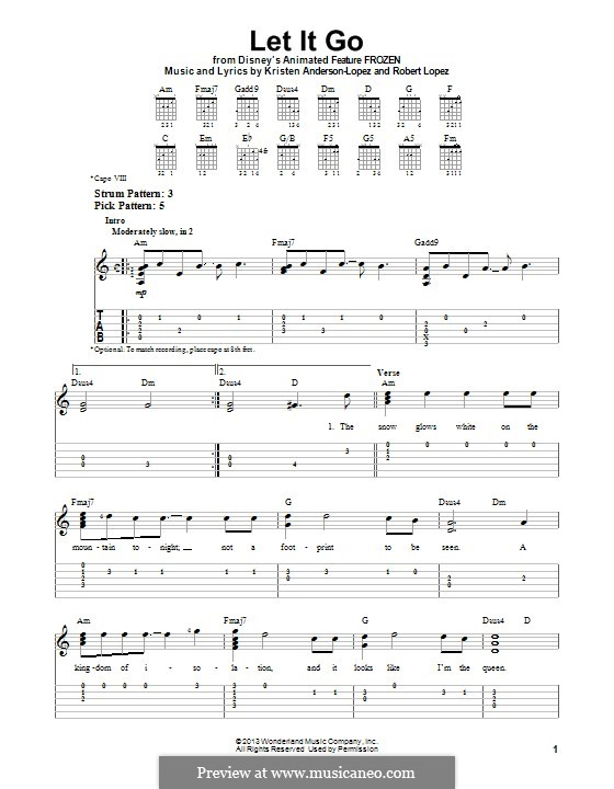 Let It Go (from Frozen): For guitar with tab by Robert Lopez, Kristen Anderson-Lopez