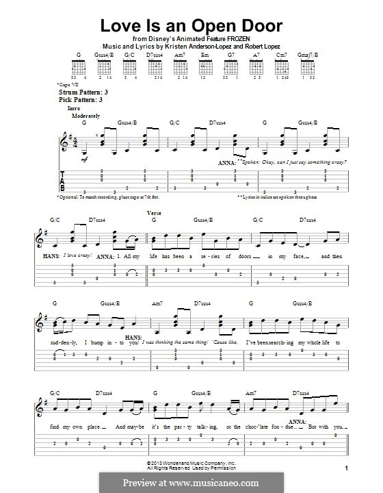 Love Is an Open Door: For guitar with tab by Robert Lopez, Kristen Anderson-Lopez