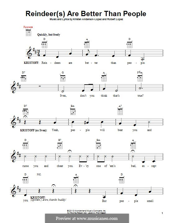 Reindeer(s) Are Better Than People: For ukulele by Robert Lopez, Kristen Anderson-Lopez