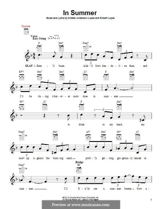 In Summer: For ukulele by Robert Lopez, Kristen Anderson-Lopez