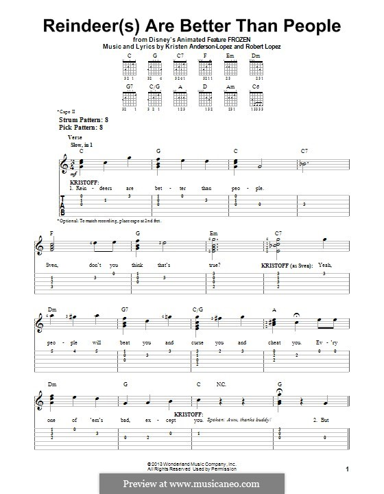 Reindeer(s) Are Better Than People: For guitar with tab by Robert Lopez, Kristen Anderson-Lopez