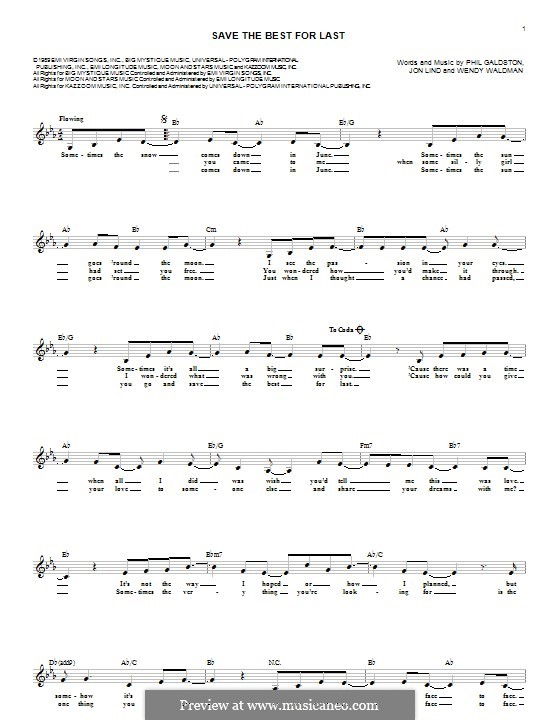 Save the Best for Last (Vanessa Williams): Lyrics and chords by John Lind, Phil Galdston, Wendy Waldman