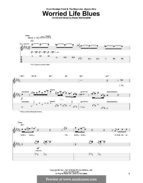 Worried Life Blues: For guitar with tab by Maceo Merriweather