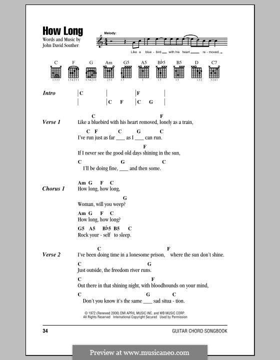 How Long (The Eagles): Lyrics and chords by John David Souther