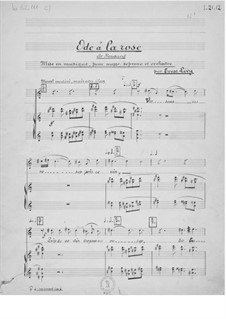 Ode à la rose for Voice and Orchestra: Piano-Vocal Score by Ernst Levy
