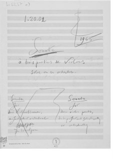 Sonata for Three Violin Parts Performed Solistically or Orchestrally: Composer's Sketches by Ernst Levy