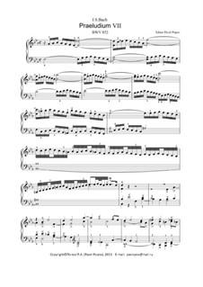 Prelude and Fugue No.7 in E Flat Major, BWV 852: For keyboard by Johann Sebastian Bach