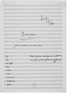 Sonata Strofica for a Chamber Music Ensemble: Full score by Ernst Levy