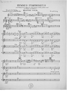 Hymnus symphonicus for Organ, Brass Instruments and Vocal Quartet: Vocal Score by Ernst Levy