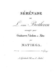 String Trio No.2 in D Major 'Serenade', Op.8: Version for guitar, violin and viola – parts by Ludwig van Beethoven