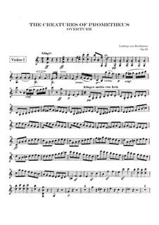 The Creatures of Prometheus, Op.43: Violin I part by Ludwig van Beethoven