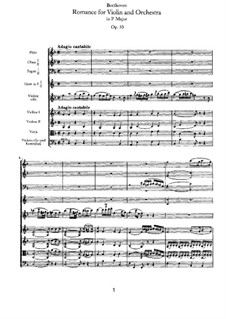 Romance for Violin and Orchestra No.2 in F Major, Op.50: Full score by Ludwig van Beethoven