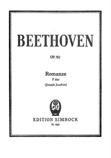 Romance for Violin and Orchestra No.2 in F Major, Op.50: Version for violin and piano by Ludwig van Beethoven