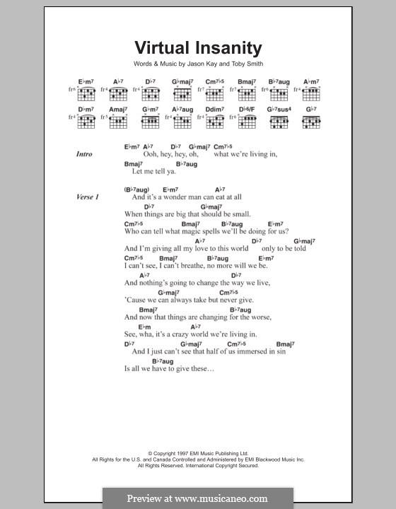 Virtual Insanity (Jamiroquai): Lyrics and chords by Jason Kay, Toby Smith