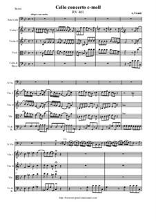 Concerto for Cello and Strings in C Minor, RV 401: Score and all parts by Antonio Vivaldi