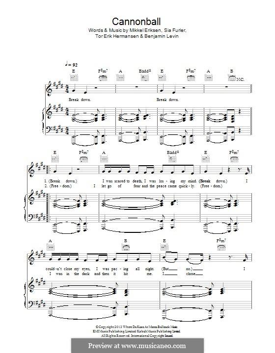 Cannonball (Lea Michele): For voice and piano (or guitar) by Benjamin Levin, Mikkel Storleer Eriksen, Sia Furler, Tor Erik Hermansen