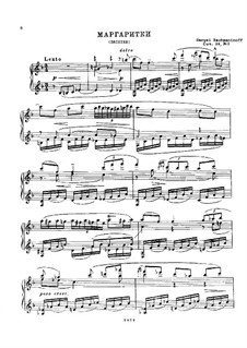 Six Romances, Op.38: No.3 Daisies, for Piano by Sergei Rachmaninoff