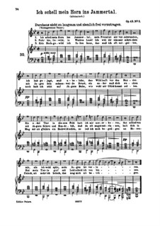 Four Songs, Op.43: No.3 I Sound My Horn in the Valley of Sorrow by Johannes Brahms