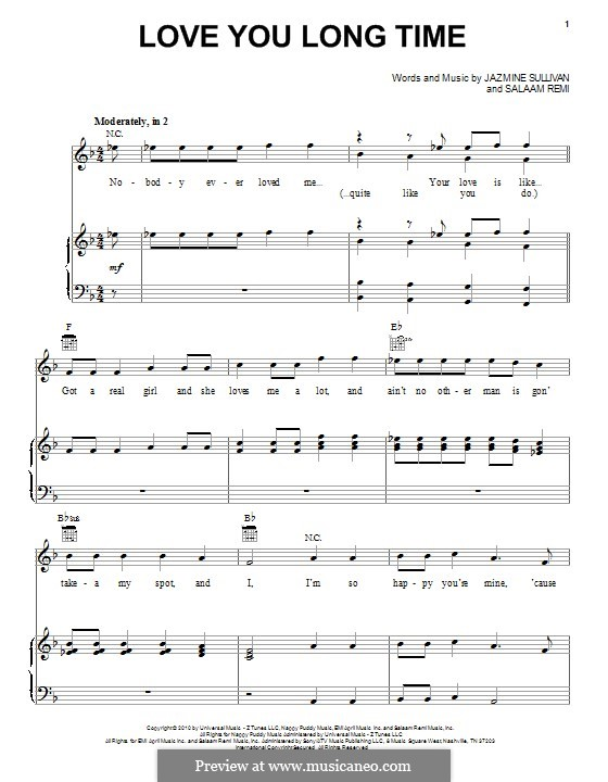 Love You Long Time (Pentatonix): For voice and piano (or guitar) by Jazmine Sullivan, Salaam Remi