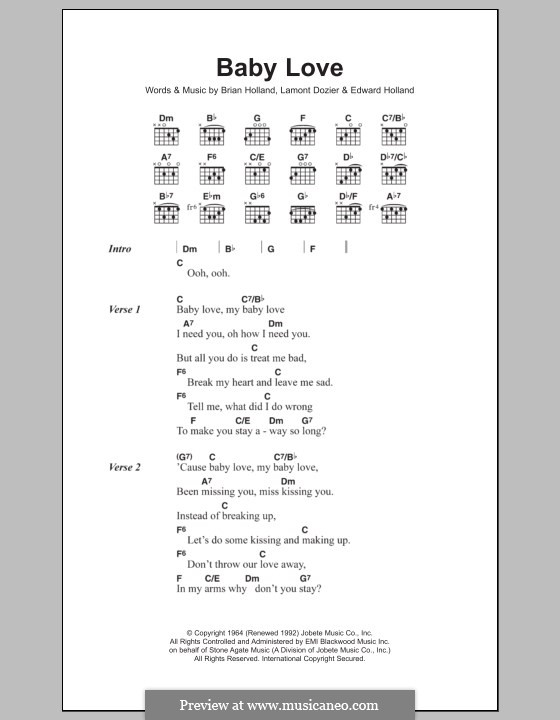 Baby Love (The Supremes): Lyrics and chords by Brian Holland, Edward Holland Jr., Lamont Dozier