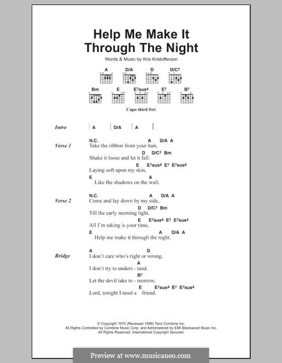 Help Me Make It Through the Night: Lyrics and chords by Kris Kristofferson