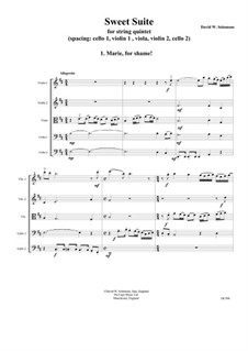 Sweet Suite: Marie for shame for string quintet by David W Solomons