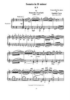 Sonata No.413 in D Minor, K.9 L.413 P.65: For piano by Domenico Scarlatti