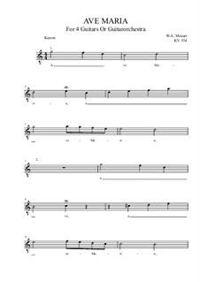 Ave Maria, KV 554: For guitar quartet (C Major) by Wolfgang Amadeus Mozart