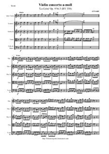 La Cetra (The Lyre). Twelve Violin Concertos, Op.9: No.5 Concerto in A Minor – score and all parts, RV 348 by Antonio Vivaldi