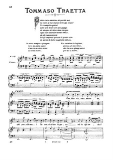 Antigone. Ombra cara, amorosa: High voice in E Minor by Tommaso Traetta