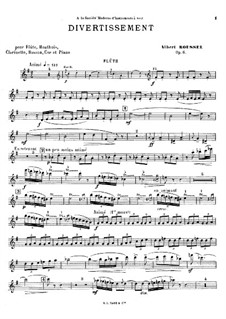 Divertissement for Piano and Winds, Op.6: Full score, parts by Albert Roussel