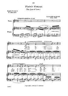 Plaisir d'Amour (The Joys of Love): Low or medium voice in E Flat Major by Jean Paul Egide Martini