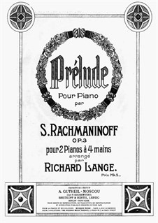 Morceaux de fantaisie, Op.3: No.2 Prélude, for two pianos four hands by Sergei Rachmaninoff