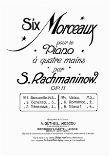 Six Morceaux pour le piano à quatre mains, Op.11: No.3 Thême Russe by Sergei Rachmaninoff