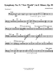 Movement II (Largo): Trombone bass clef 2 (transposed part) by Antonín Dvořák