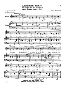 L'Arianna (Ariadne): Lasciatemi morire, low voice in C Minor by Claudio Monteverdi