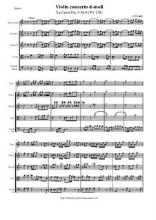 La Cetra (The Lyre). Twelve Violin Concertos, Op.9: No.8 Concerto in D Minor – score and all parts, RV 238 by Antonio Vivaldi