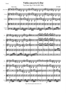 La Cetra (The Lyre). Twelve Violin Concertos, Op.9: No.10 Concerto in G Major – score and all parts, RV 300 by Antonio Vivaldi