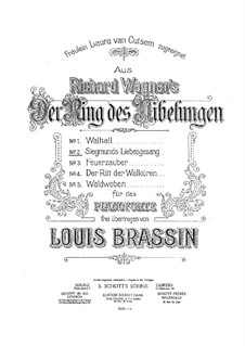 The Valkyrie , WWV 86b: Siegmund's Love Song, for piano by Richard Wagner
