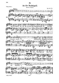 An die Nachtigall (To the Nightingale), D.497 Op.98 No.1: For medium voice and piano by Franz Schubert