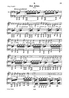 No.8 Der Atlas (Atlas): For medium voice and piano by Franz Schubert