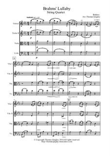 No.4 Cradle Song: For string quartet by Johannes Brahms